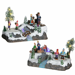 Winter scenery wooden loggs - battery operated - l25xw15xh16cm