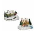 Small house with Snowman - battery operated - l14xw10,5xh9,5cm