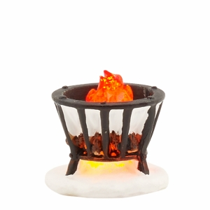 Fire basket black - battery operated - h3xw3,5cm