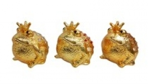 Sparkling Freddy - Moneybank King Frog - Gold with Red stones