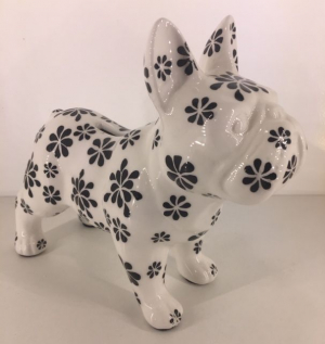 Studio Design - Jack - French Bulldog - Bloemen - 21,5x10x19cm - 100% handmade - Every piece is unique - For Design Lovers