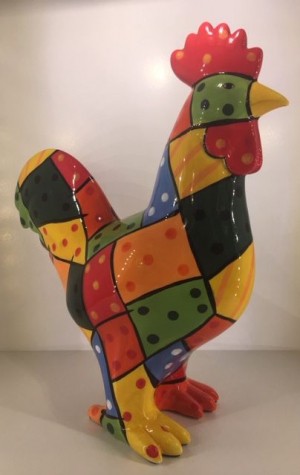 Studio Art - Edson - Rooster Pablo Patchwork - 34,5x15x40 cm - 100% handmade - Every piece is unique - For Art Lovers