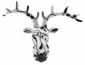 AniWall - Studio Design - DEER BIG NELSON - BLACK & WHITE - 61x24,5x47cm - Porselein en hand beschilderd