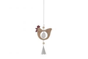 Hanging Hen with Spring 8x14cm Natural
