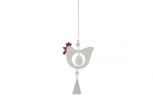 Hanging Hen with Spring 8x14cm White