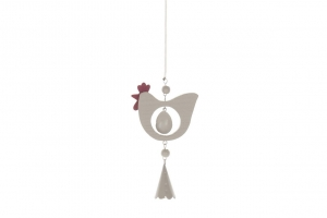 Hanging Hen with Spring 8x14cm Grey