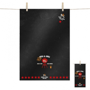 Grill & Chill black Kitchen Towel - 68x48cm - 100% cotton