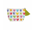 Aquarell Hearts - Beauty Bag - Canvas met ritssluiting - 20x31x9cm