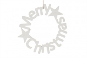 MDF krans - Merry Christmas - 30cm wit