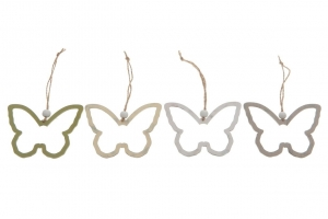 Wooden hanging butterfly 10x8x0.3cm - 5pc - Yellow mix -