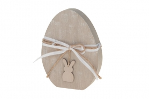 Wooden egg with rabbit 14x18x2.5cm Natural-wash