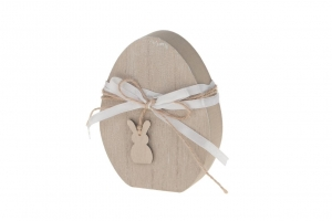 Wooden egg with rabbit 9.5x12x2.5cm Natural-wash