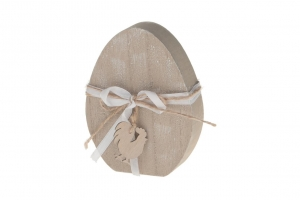 Wooden egg with chicken 9.5x12x2.5cm Natural-wash