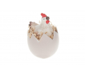 Polyresin chicken on egg 13x8.5x6.5cm White
