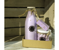 Gift set 'Lavender Fields' - Glass bottle Salt Scrub 750ml, Glass pot Mini Hand Soap 450gr, 1 piece of Soap