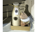 Gift set 'Sweet Vanilla' - Glass bottle Salt Scrub 750ml, Glass pot Mini Hand Soap 450gr, 1 piece of Soap