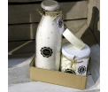 "Gift set 'Clean Cotton"" - Glass bottle Salt Scrub 750ml, Glass pot Mini Hand Soap 450gr, 1 piece of Soap"