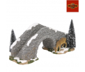 Stone Bridge with deer - l24xw11.5xh13cm