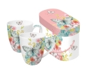 Mug Set GB Louise Butterfly -Set van 2 porseleinen mokken in bijpassende luxe geschenkverpakking. Inhoud mok 0,35 ltr. Geschikt voor magnetron en vaatwasser