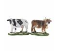 Cow and bull 2 pieces - l11.5xw9xh6cm