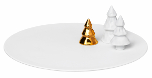 Advent plate- porcelain, glazed, two tree loose, one tree with golden glaze - 28,5cm - Räder - Design Stories,