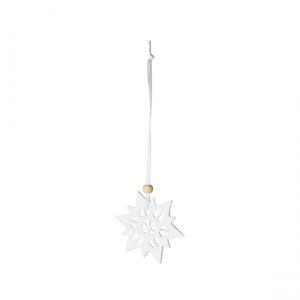 Ornament - Snowflake - Porcelain, unglazed, white ribbon with wooden bead - Räder - Design Stories