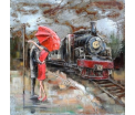 3D Art in staal uitgevoerd- In the Rain at the train - 100 x 100 cm - 271 -