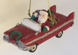 Mid Century Santa in Retro Car - Red
