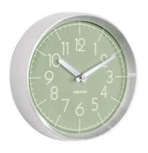 Karlsson - Wall clock model Convex, Brushed alu case - Green - 22cmX7,5cm - 1AA batt. excl.