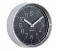 Karlsson - Wall clock model Convex, Brushed alu case - Black - 22cmX7,5cm - 1AA batt. excl.