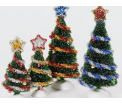 D56Tinsel trees with garland. Set van 4 stuks