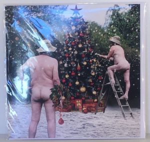 Kerstkaart - Christmas Tree with naked Couple - Text inside: Merry Christmas and a Happy New Year