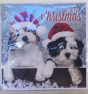 Kerstkaart - 2 Dogs- Text inside: Merry Christmas and a Happy New Year