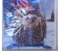 Kerstkaart - Christmas Hedgehog - Text inside: Merry Christmas and a Happy New Year