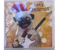 Kerstkaart - Merry Christmas Pug - Text inside: Merry Christmas an a Happy New Year