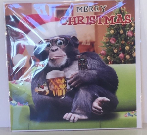 Kerstkaart - Christmas Monkey - Text inside: Merry Christmas and a Happy New Year