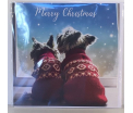 Kerstkaart - Merry Christmas Dogs- Text inside: Merry Christmas and a Happy New Year