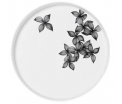 Tray Large 30cm x 3,5 cm - White porcelain with black painted leaves