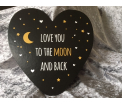 Hearts - Love you to the Moon and Back - 21,5x22,5cm - kartonnen kaart met enveloppe - kan ook neergezet worden incl. standaard