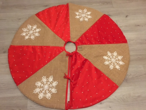 Kerstboomkleed - Winterfrost red - doorsnede 1.20 - handmade - Infingo Collection