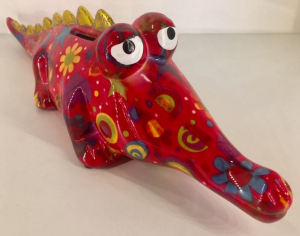 Arthur - Moneybank Crocodile - Red with flowers