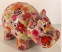 Hippolyte - Moneybank Hippo - Pink with flowers