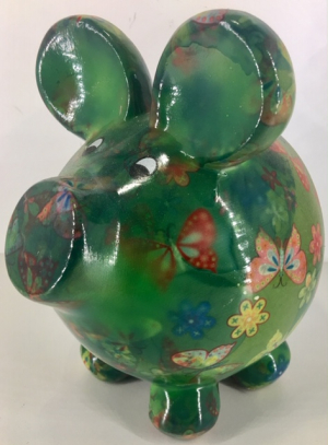 Ziggy Pig Moneybank pig - Green with butterfly
