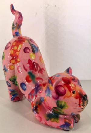 Poppy Moneybank Cat - pink candy