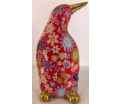 Cezar - Moneybank pinguin - Red with flowers