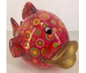Kelly Moneybank fish - red with circles