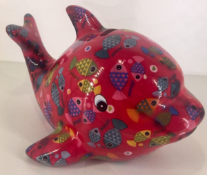 Twisty - Moneybank Dolphin - Red with fish