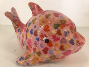 Twisty - Moneybank Dolphin - Pink with harts