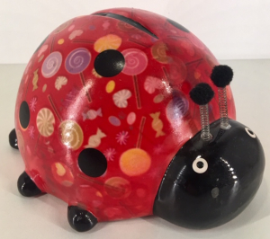 Pim - Moneybank Ladybird - Red with Lollypops