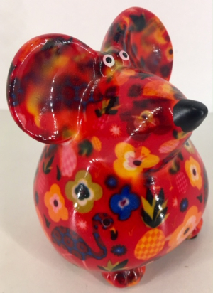Petit-Pidou Pinkies Mouse - Mini Moneybank - Red Tropical